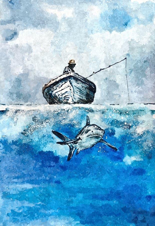 Tekeningswaterverf op papier Naïef art royalty-vrije illustratie