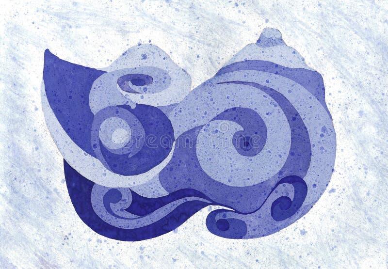 Tekeningszeeschelp op de strandclose-up Kunstwerk in Waterverf vector illustratie