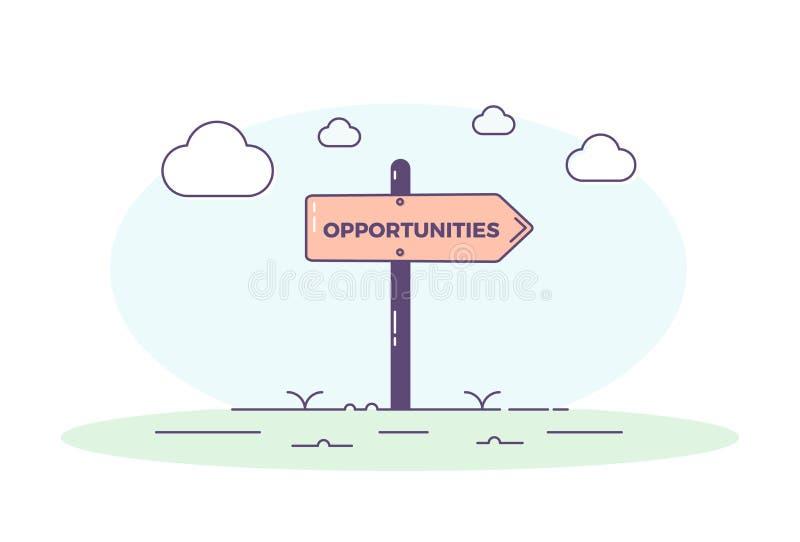 Tekenpost die naar kansen richten Vectorconceptenillustratie als achtergrond vector illustratie