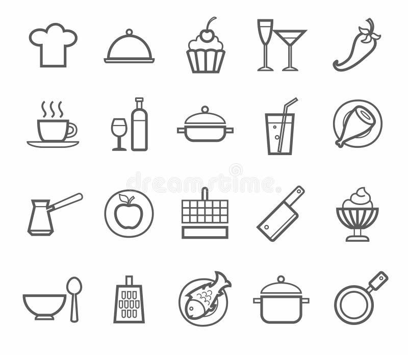Tekens, pictogrammen, keuken, restaurant, koffie, voedsel, dranken, werktuigen, contourtekening royalty-vrije illustratie