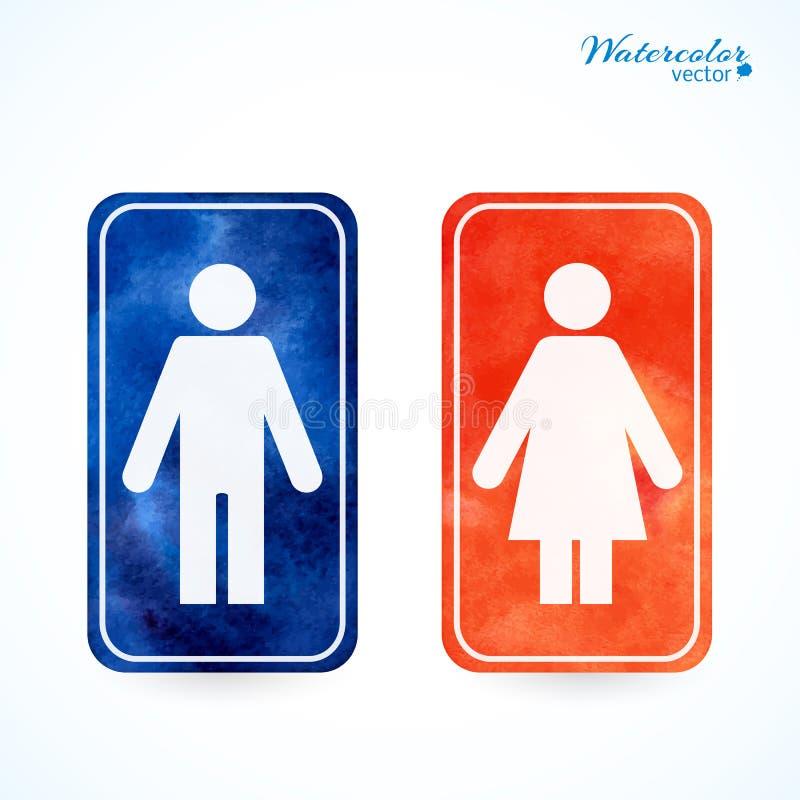 Tekens - toilet, kleedkamer, mannetje, wijfje, WC vector illustratie