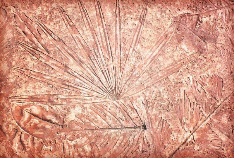 Tekens van blad op het beton royalty-vrije stock foto