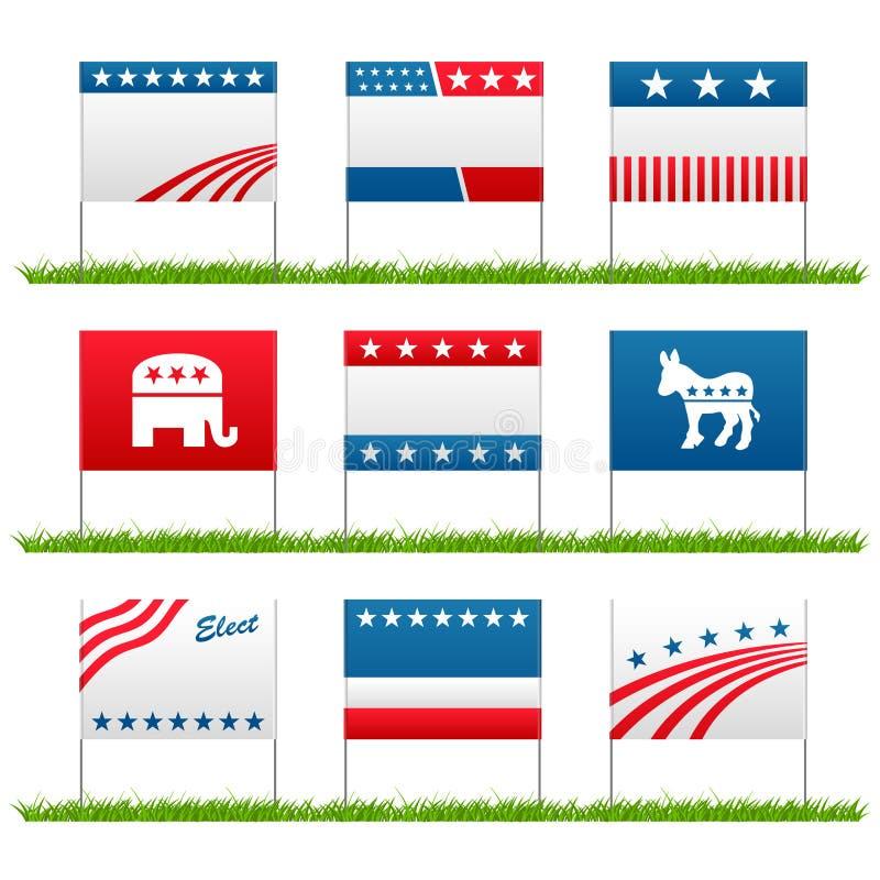 Tekens van de de campagne de politieke werf van de verkiezing stock illustratie