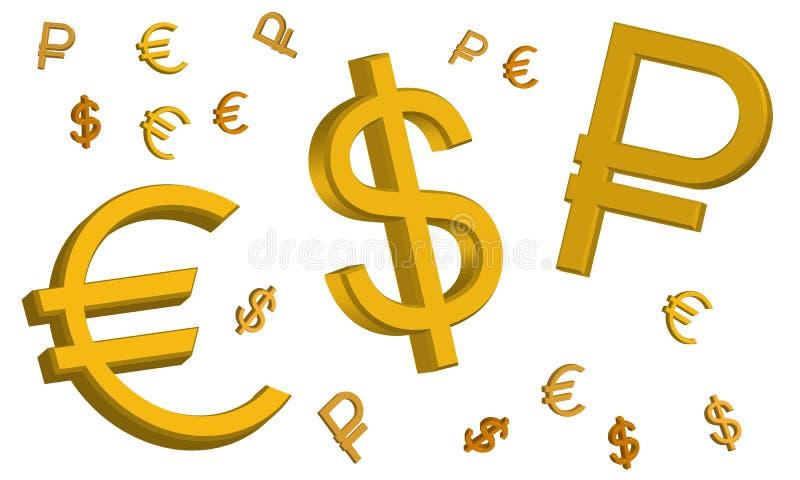 Tekens van de euro, de Russische roebel en de Amerikaanse dollar royalty-vrije illustratie