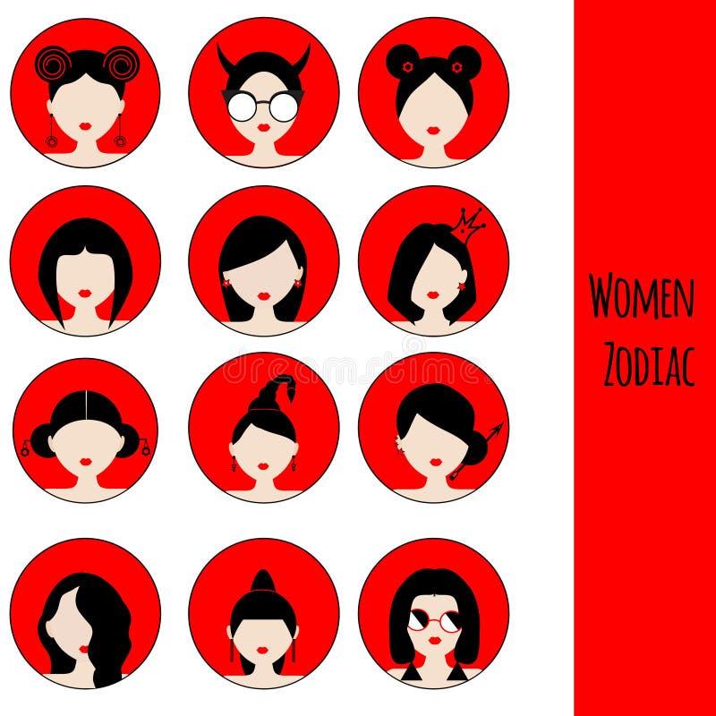 Tekens van de vrouwen de Astrologische Dierenriem Beeldverhaal polair met harten Pictogrammen in rode en zwarte kleuren royalty-vrije illustratie