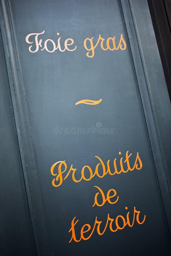 Tekens van Franse kruidenierswinkel stock afbeeldingen