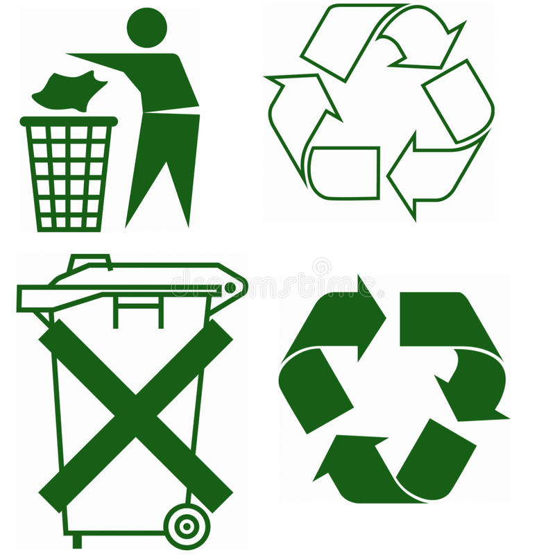 Tekens voor recycling stock illustratie