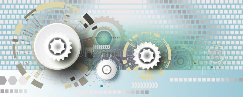 Teknik för teknologikugghjulhjul på fyrkantig bakgrund royaltyfri illustrationer