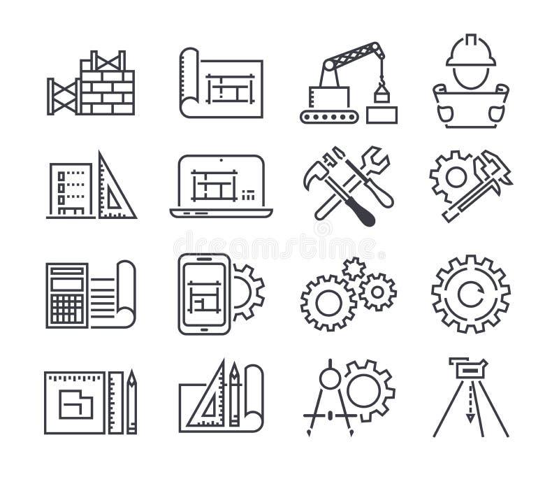 Teknik och den fabriks- vektorsymbolen ställde in i den tunna linjen stil vektor illustrationer