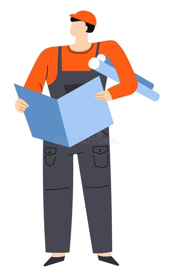 Teknik och tekniker, byggmästare med utkast och intriger, byggnation stock illustrationer