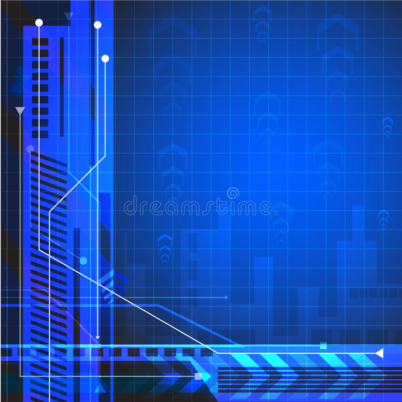 Teknikbakgrund för projekt Körning av utvecklingen av stads- kommunikationer vektor illustrationer