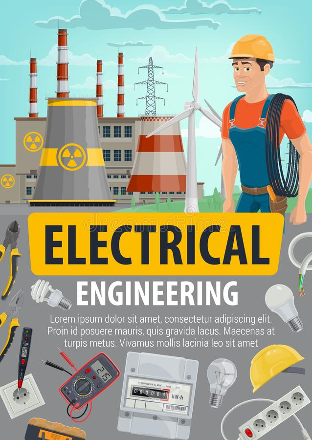 Tekniker- eller elektrikerjobb, energeticsbransch royaltyfri illustrationer