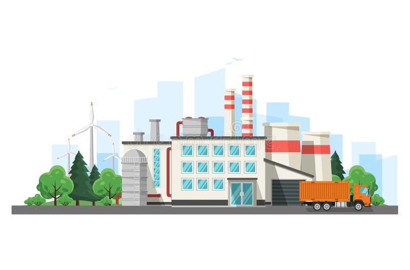 Tekniker och smart fabriksbegrepp Industriell internet av saker Avkännarenätverk Modern digital fabrik stock illustrationer