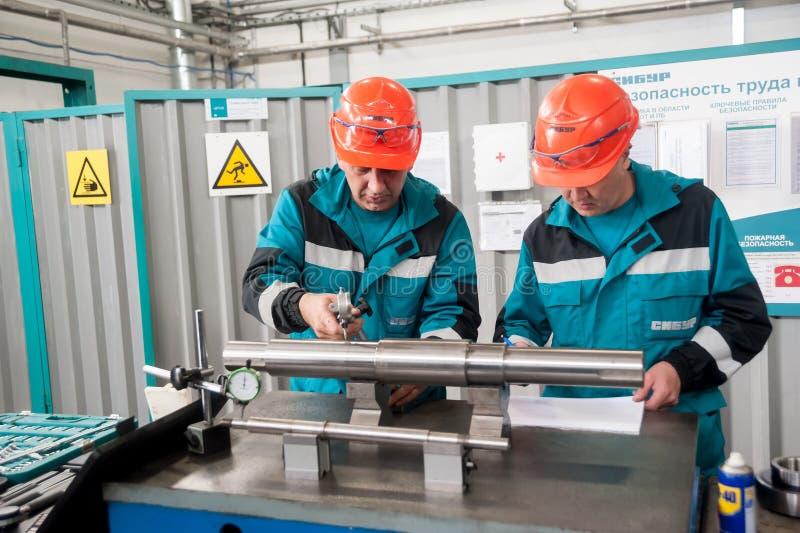 Tekniker som arbetar i fabrik arkivfoto