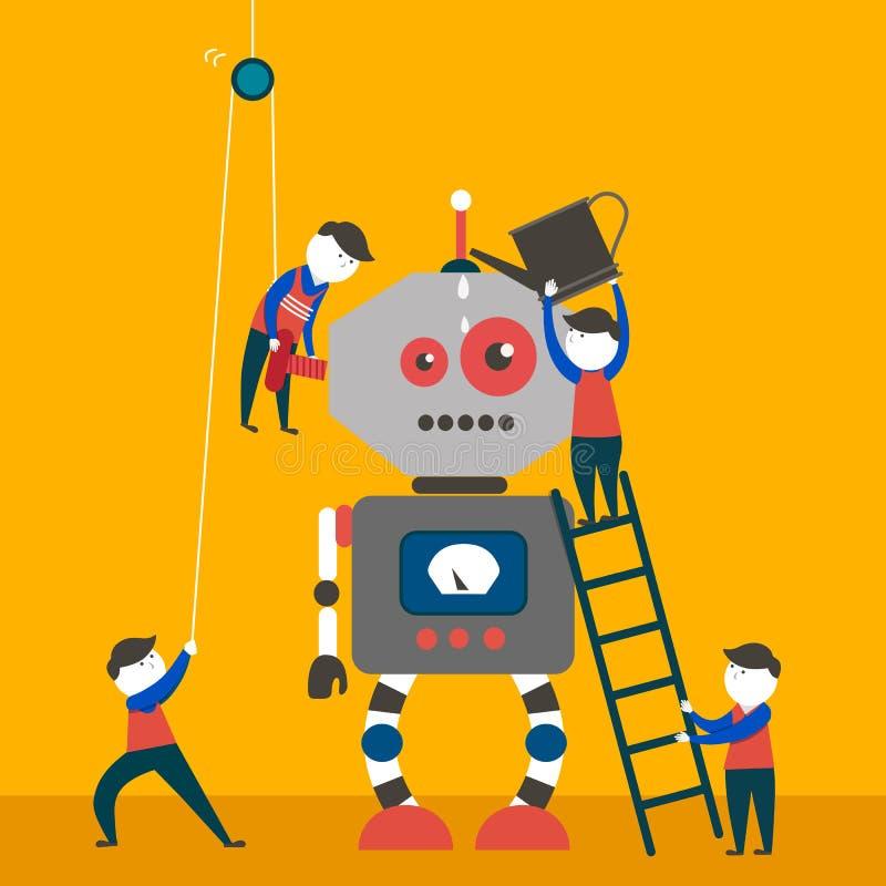 Teknikerer är göra och kontrollera den enorma roboten vektor illustrationer