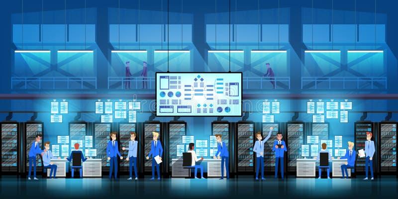 It-teknikerer i stort datorhallarbete på regerings- projekt för ny teknik med serverrum och datorer royaltyfri illustrationer