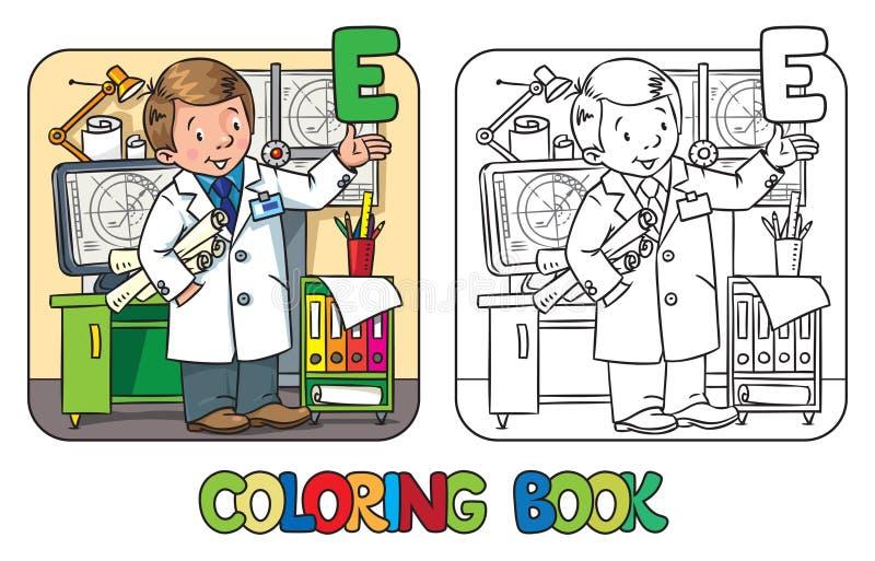 Teknikerfärgläggningbok Yrkeabcserie stock illustrationer