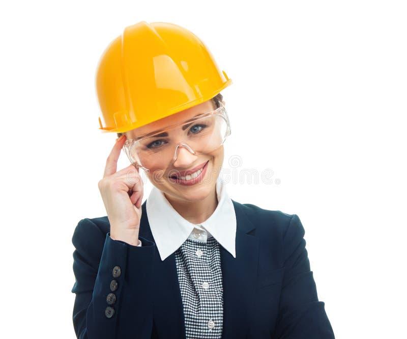 Teknikerkvinna över vit bakgrund arkivfoto