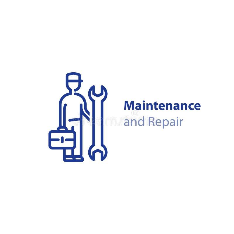 Teknikerman med den skruvnyckel- och fall-, för repairmen begrepp, underhålls- och servicesymbolen royaltyfri illustrationer