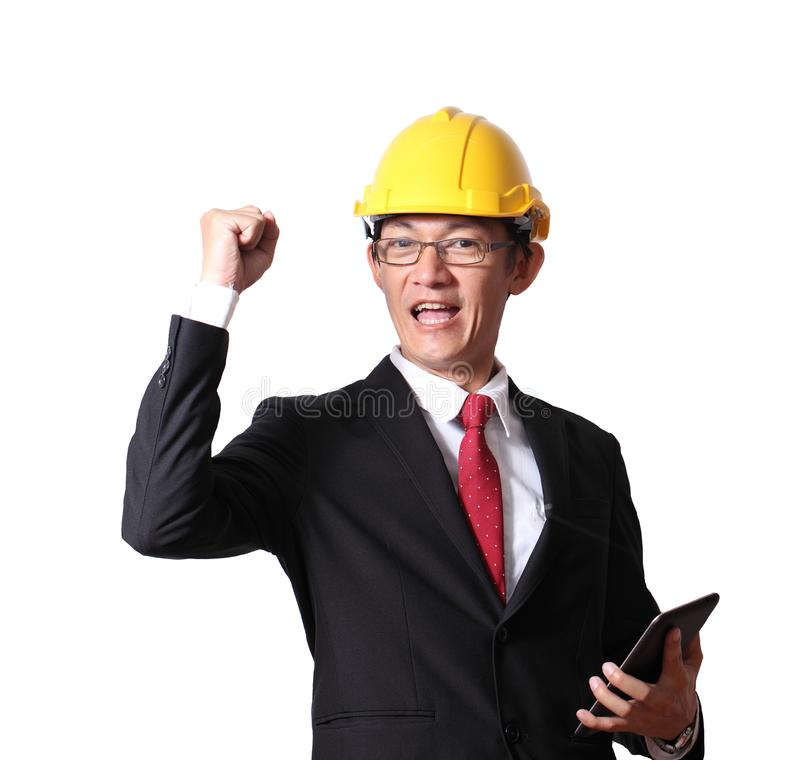 Teknikern, ordföranden och arbetaren lyfter händer som isoleras upp på wh arkivfoton