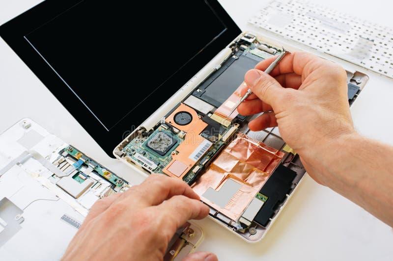 Teknikern reparerar bärbara datorn (PC, dator) och motherboaen royaltyfria bilder