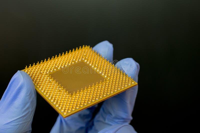 Teknikern rymmer en processor arkivbild