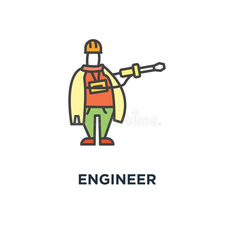 Teknikersymbol arbetaren byggnad, reparationen, teknik, tecknad filmöversikten, begreppssymboldesignen, repairmanen, faktotumet,  royaltyfri illustrationer