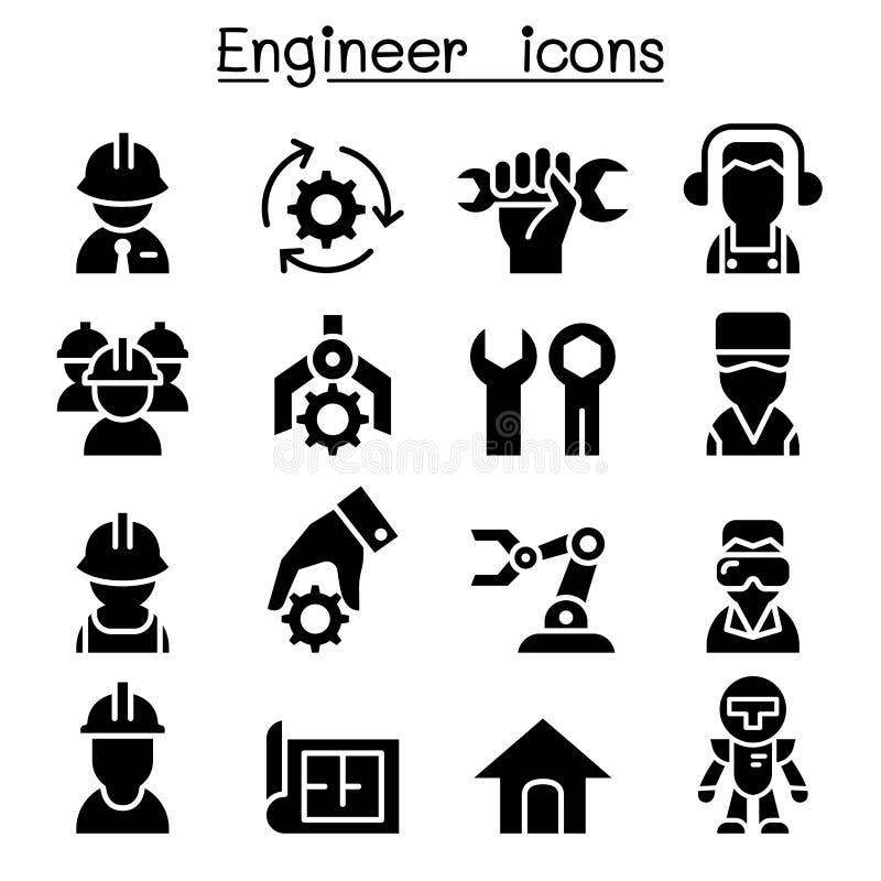 Teknikersymbolsuppsättning stock illustrationer