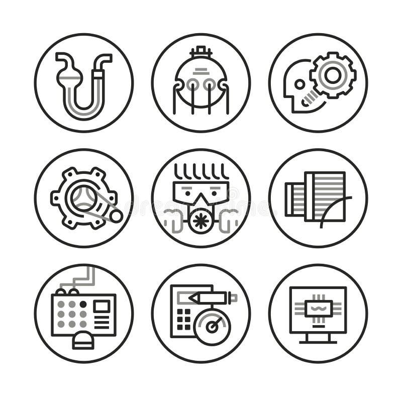 Tekniksymboler royaltyfri illustrationer