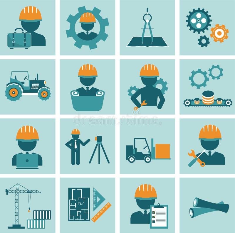 Tekniksymbolsuppsättning Iscensätta symboler för operatören för maskinen för konstruktionsutrustning klara av och tillverkande royaltyfri illustrationer