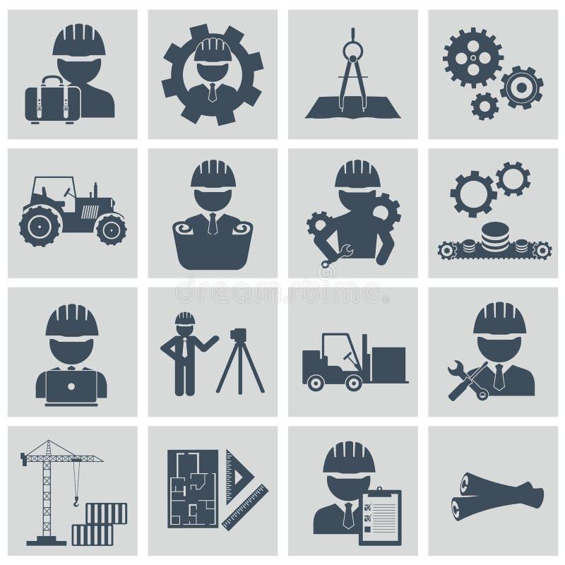Tekniksymbolsuppsättning Iscensätta symboler för operatören för maskinen för konstruktionsutrustning klara av och tillverkande stock illustrationer