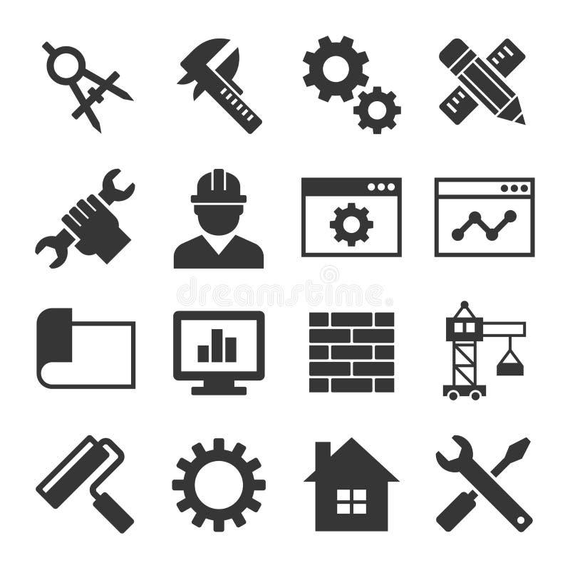 Tekniksymbolsuppsättning vektor stock illustrationer
