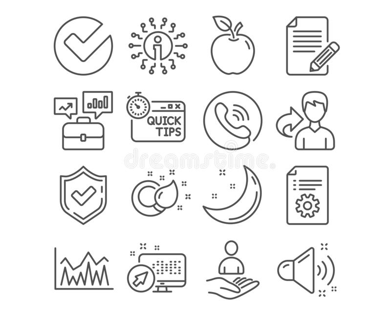 Teknisk dokumentation, investering och snabba spetssymboler Måla borsten, artikeln och högt solitt tecken vektor vektor illustrationer