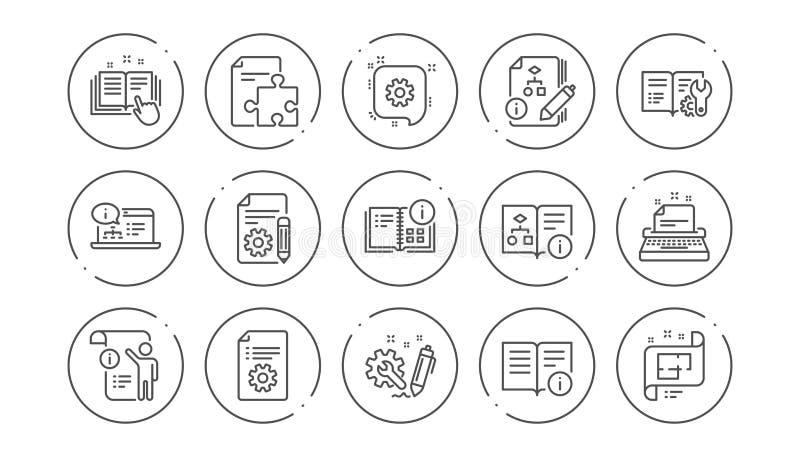 Teknisk dokumentationslinje symboler Anvisning, plan och handbok Linj?r symbolsupps?ttning vektor stock illustrationer