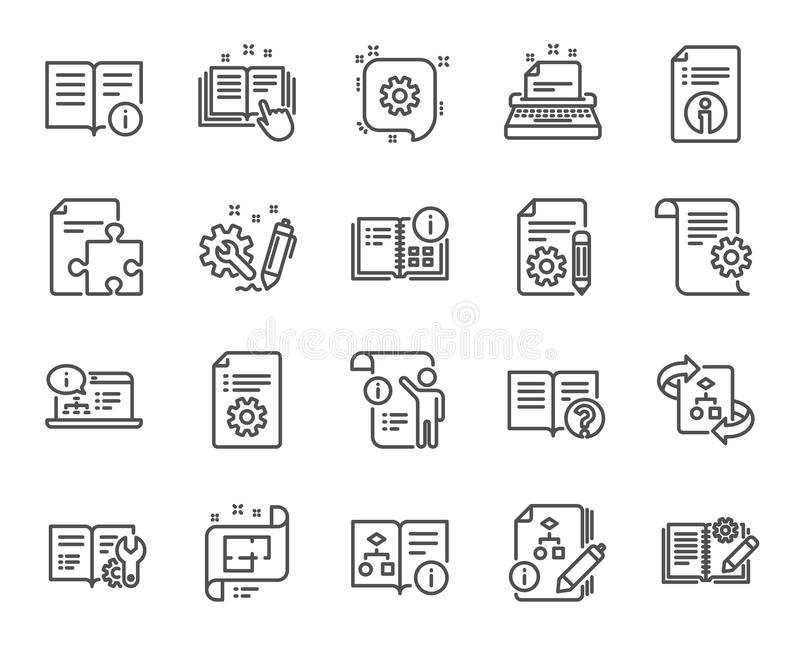Teknisk dokumentationslinje symboler Uppsättning av anvisning, planet och handboken vektor vektor illustrationer