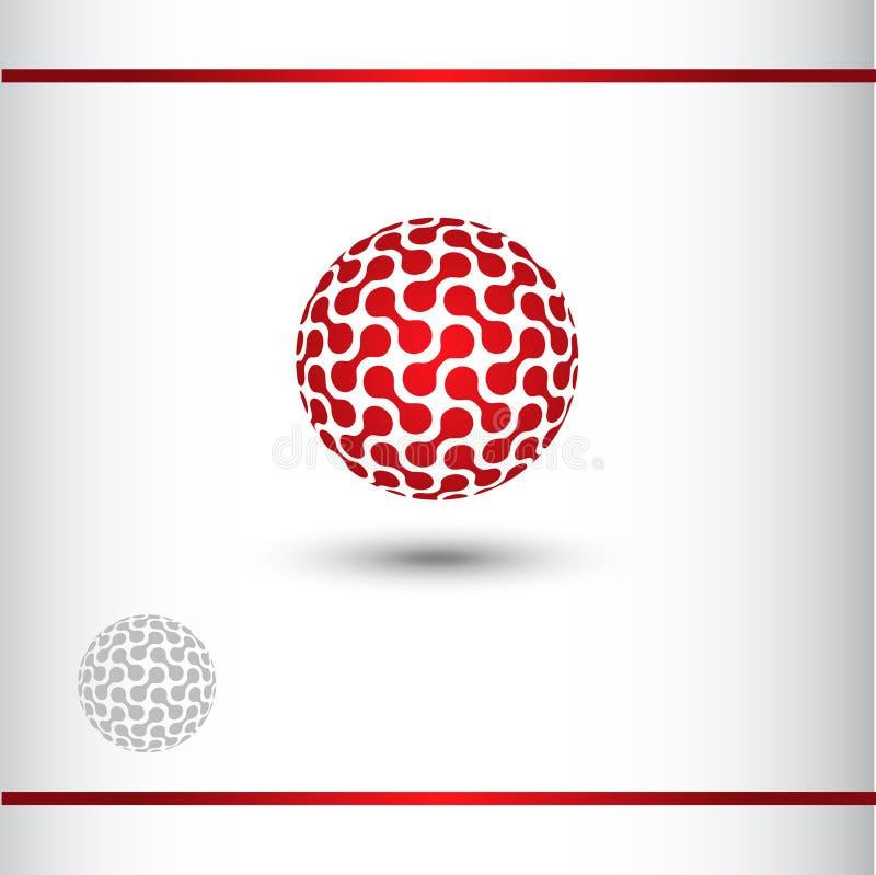 Teknisk logo för rött jordklot, sfär 3D arkivbild