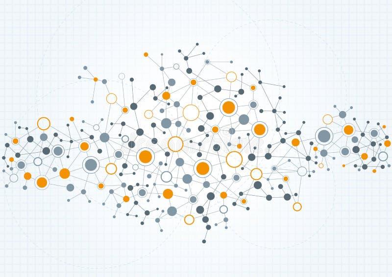 Teknisk nätverksabstrakt begreppbakgrund stock illustrationer