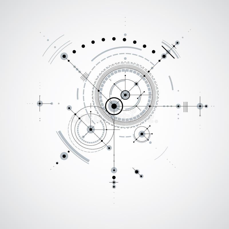 Teknisk ritning, digital bakgrund w för svartvit vektor royaltyfri illustrationer