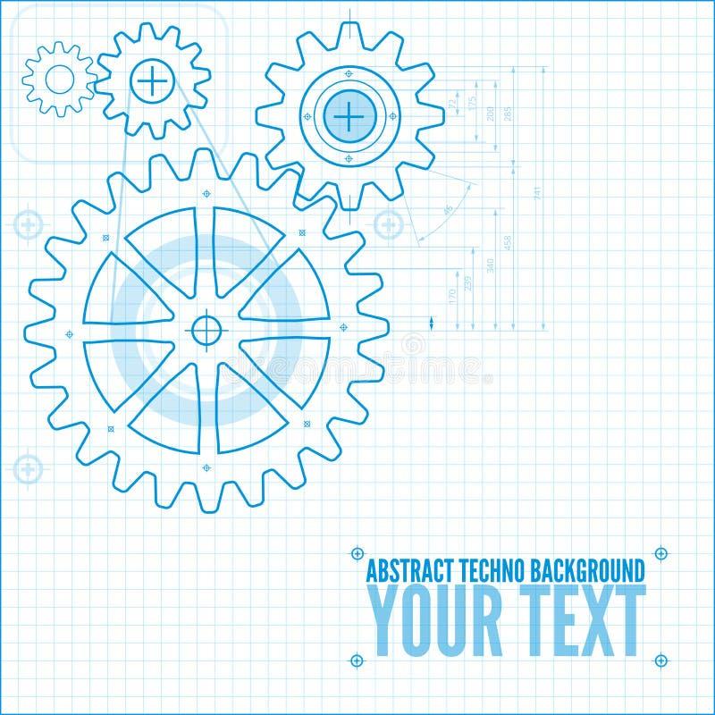 Teknisk ritningillustration vektor illustrationer