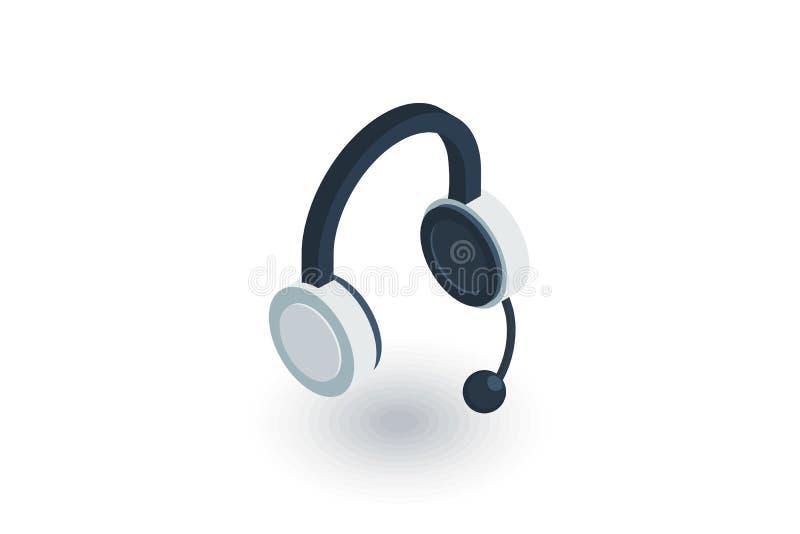 Teknisk service, hörlurar mikrofon, isometrisk plan symbol för operatör vektor 3d vektor illustrationer