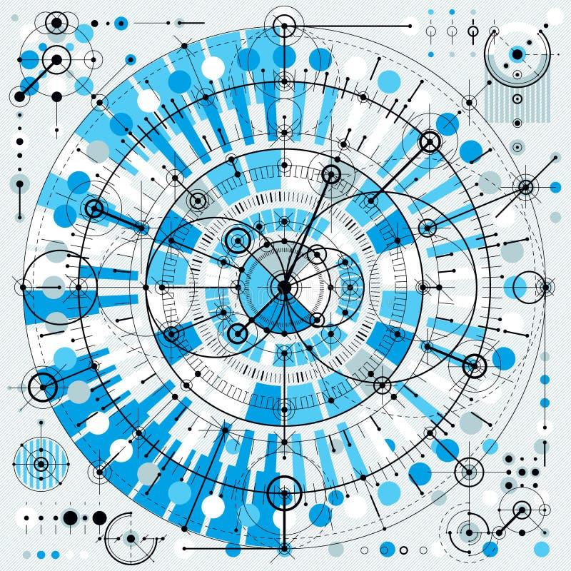 Teknisk teckning med streckade linjer och geometriska former, vektor royaltyfri illustrationer