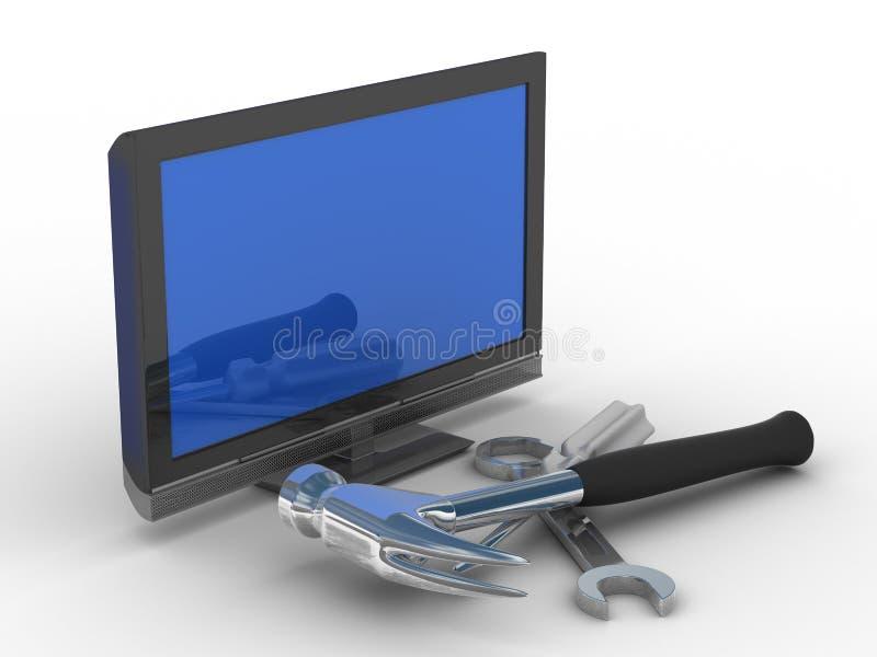 teknisk tv för reparationsservice royaltyfri illustrationer