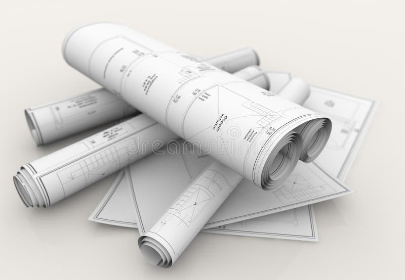 Tekniska ritningar royaltyfri illustrationer