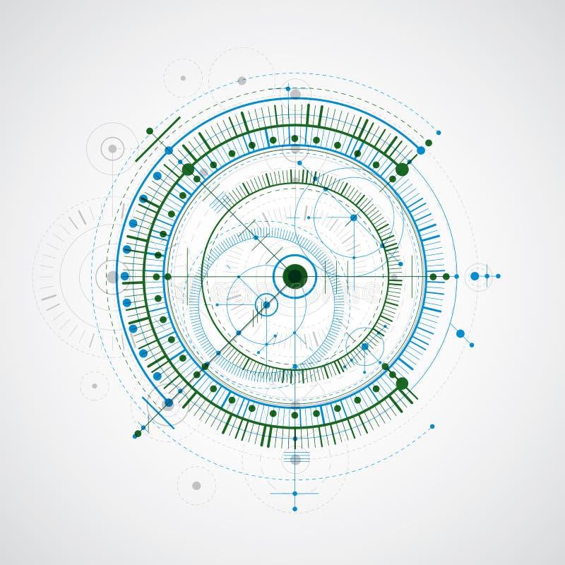 Tekniska wi för bakgrund för ritning-, blått- och gräsplanvektor digitala vektor illustrationer
