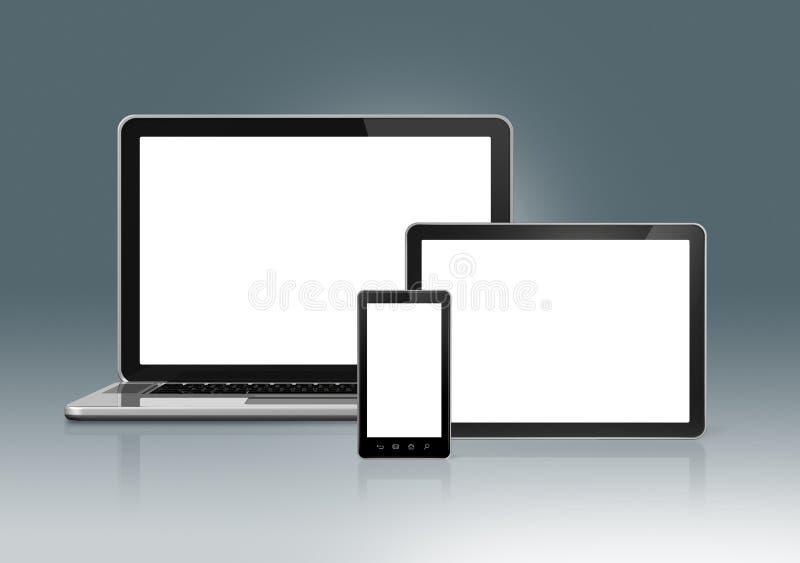 Tekniskt avancerad bärbar dator, mobiltelefon och digital minnestavlaPC stock illustrationer