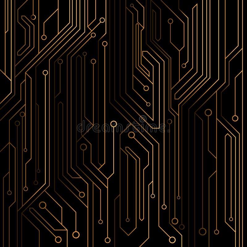 Tekniskt avancerad bakgrund av orange färg från ett datorbräde med ljusdiod- och neonkontaktdon Datorströmkrets också vektor för  vektor illustrationer
