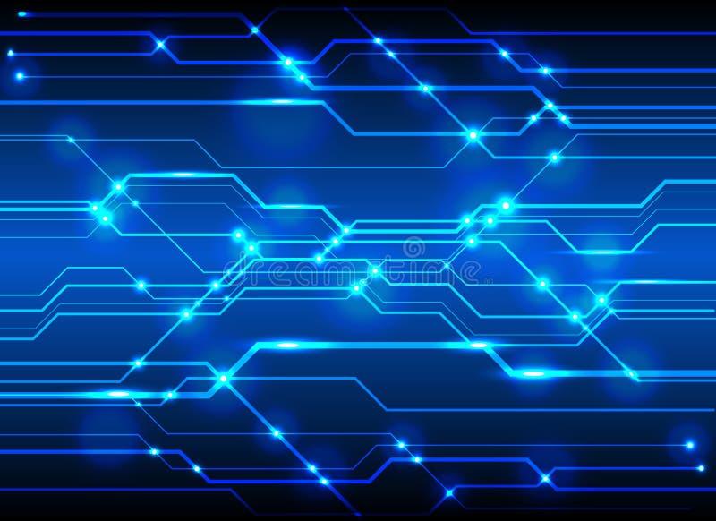 Tekniskt avancerad bakgrund för strömkretsbrädet, teknologiblått går runt abst vektor illustrationer