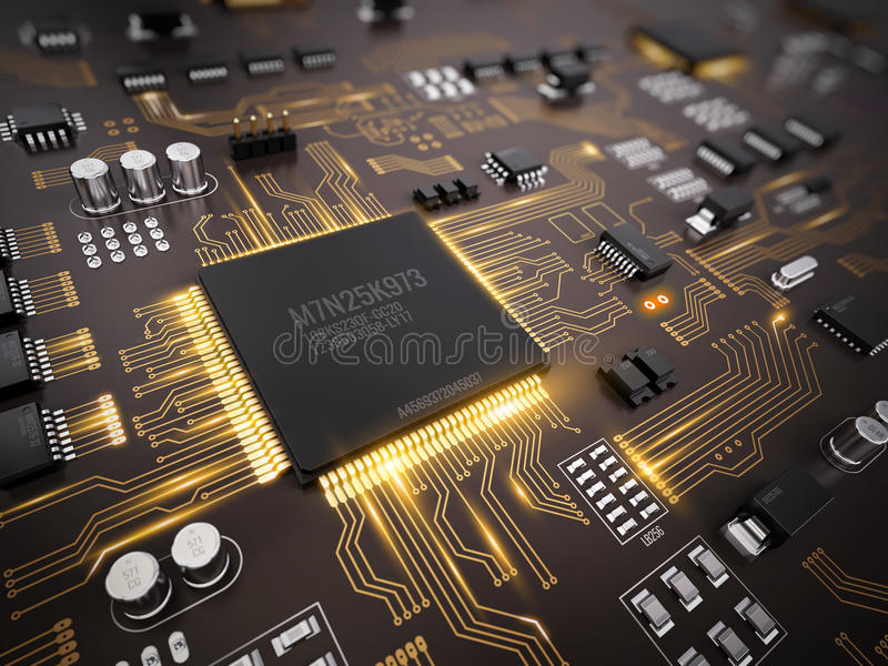Tekniskt avancerad elektronisk PCB & x28; Board& x29 för utskrivaven strömkrets; med processorn, mikrochipers och glödande digita vektor illustrationer