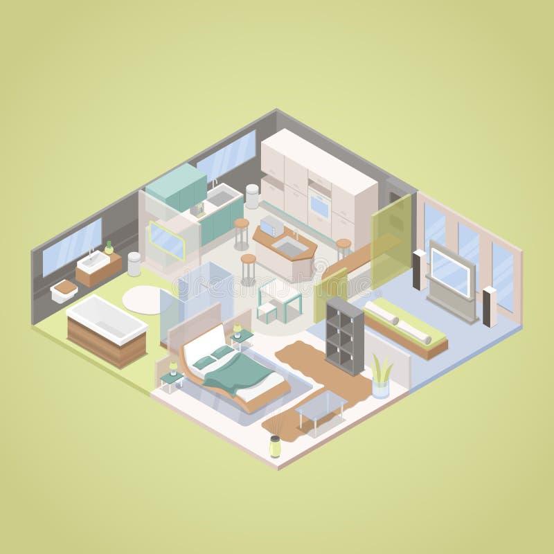 Tekniskt avancerad modern lägenhetinredesign med vardagsrum, sovrummet och kök Isometrisk plan illustration vektor illustrationer