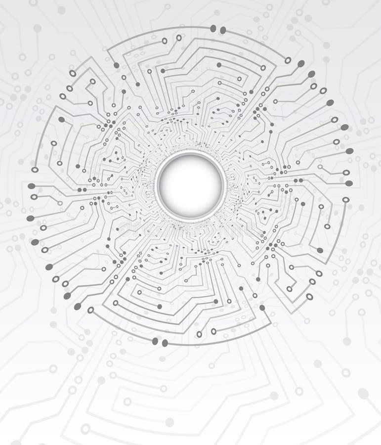 Tekniskt avancerad textur för teknologitunnelbakgrund Illustration f?r vektor f?r cirkelstr?mkretsbr?de royaltyfri illustrationer